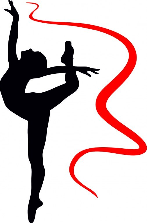 Силуэт гимнастки с лентой картинки
