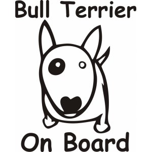"Наклейка на авто ""Bull Terrier on board, БульТерьер"""