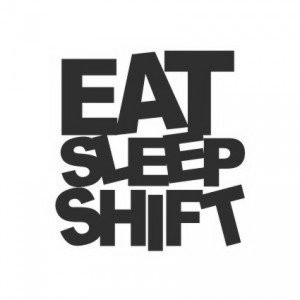 "Наклейка на авто ""Eat Sleep Shift"""