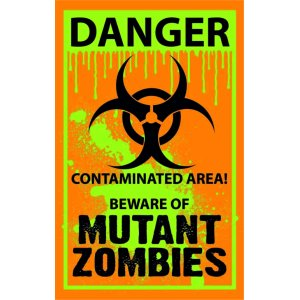 "Наклейка на авто ""Danger. Mutant Zombies. Опасно. Зомби"""